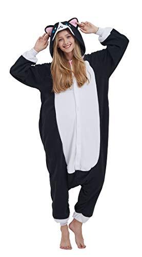 SAMGU Adult Pyjama Cosplay Tier Onesie Body Nachtwäsche Kleid Overall Animal Sleepwear Erwachsene Katze M