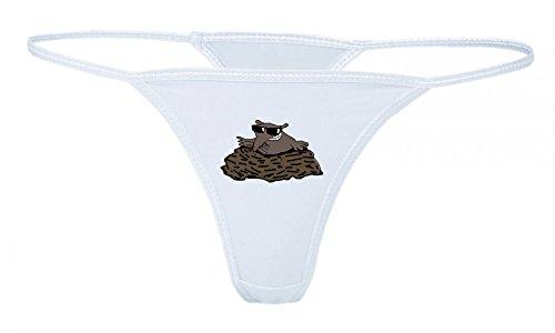 Druckerlebnis24 String Tanga Maulwurf- MÜCKE EINEN Elefanten- Tier- SPAß- Sonnenbrillen XS- XXL Damen String Sexy Unterhose