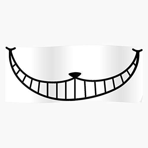 JUCIMA Wonderland Smile in Mad Chesire Crazy Mouth Cat Alice Scary Impressive and Trendy Poster Print Decor Wall or Desk Mount Options