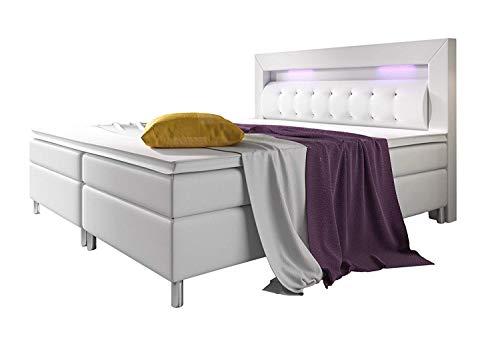 Home Collection24 GmbH Boxspringbett 180x200 cm mit 7-Zonen Taschenfederkern-Matratze H3 Schwarz Hotelbett Doppelbett LED-Beleuchtung, Farbe:Weiss