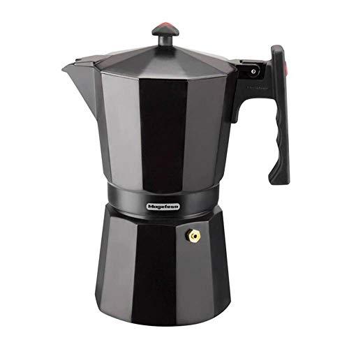 MAGEFESA Colombia – La cafetera MAGEFESA Colombia está Fabricada en Aluminio Extra Grueso. Pomo y Mangos ergonómicos de bakelita Toque Frio. (Negro, 6 Tazas)