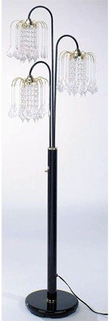 Floor Lamp with 3 Crystal-Like Shades in Black Finish