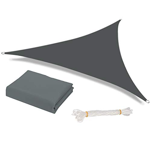 HEYOMART Sun Shade Sail Waterproof Outdoor Garden Patio Party Sunscreen Awning 3x3x3m Triangle Canopy 98% UV Block with Free Rope, Grey