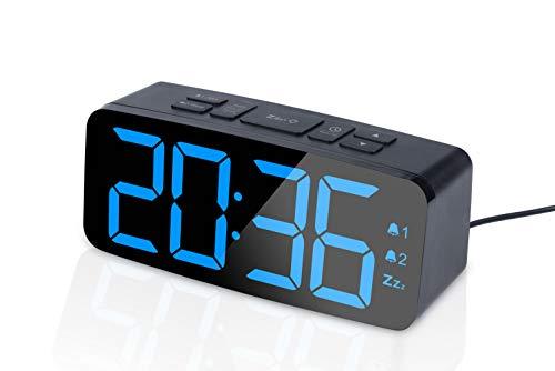 PINGKO Digitaler Radiowecker, großem Smart LED-Bildschirm,12/24H Dual Alarme Schlummerfunktion,Sleep-Timer, einstellbare Helligkeit - klein und hell für Reisen, Schreibtische oder Schlafzimmer