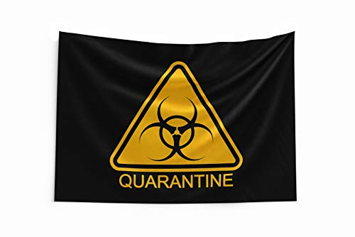 Pro-Graphx Coronavirus Flag COVID-19 Display Warning Quarantine Area Large Tapestry Decorative Banner Outdoor Stop The Spread Fight Against House Porch - 3' x 5' - Black Quarantine
