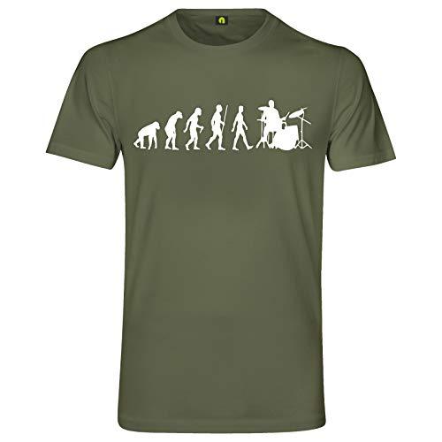 Evolution Schlagzeug T-Shirt | Drum | Set | Trommel | Becken | Stock | Stick Militär Grün XL