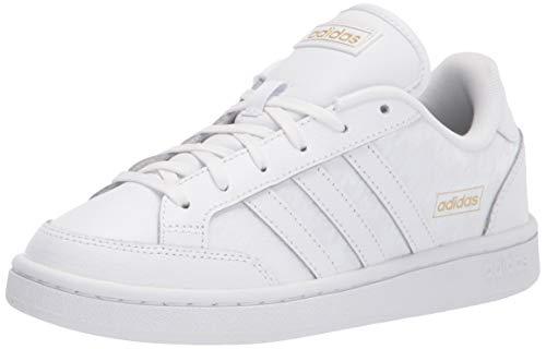 adidas Women's Grand Court SE Tennis Shoe, White/White/Gold Metallic, 10