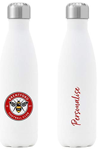 Personalised Brentford FC Crest Insulated Water Bottle - White