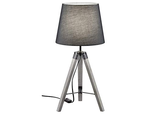 Designklassiker LED Tischlampe Höhe 57cm mit grauem Holzfuß & rundem Stoff Lampenschirm Ø26cm in Grau - Hockerleuchte