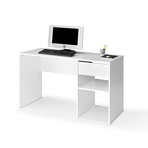 TOPKIT | Mesa de Escritorio Burgos 5012 | Medidas 75 x 120 x 50 cm | Mesa de Ordenador | Escritorio con Cajon | Mesa de Oficina | Blanco