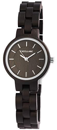 Excellanc Damen - Uhr Ebenholz Holzarmband Holzuhr Armbanduhr Faltschließe Quarz 1800194