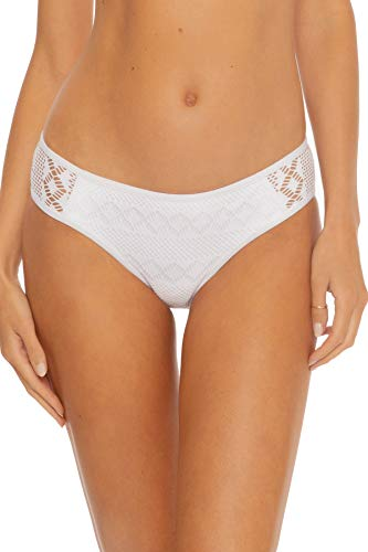 Becca by Rebecca Virtue Women's Kennedy Crochet Tab Side Hipster Bikini Bottom White M