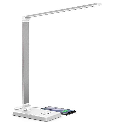 Schreibtischlampe, LED Schreibtischlampe Dimmbar, 5 Farb und 10 Helligkeitsstufen, Touch-Bedienung, Faltbar, mit USB-Anschluss und Augenschutz Tischleuchte für Büro und Haus - Weiß