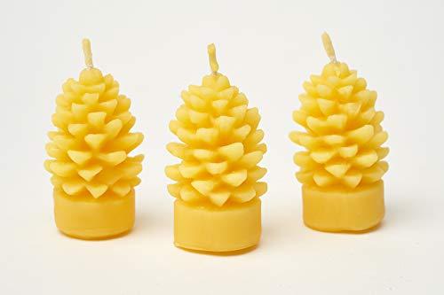 Imkerei Freese 3X Kerze Motiv Tannenzapfen (Höhe ca. 6,5cm) aus 100% Bienenwachs vom Imker