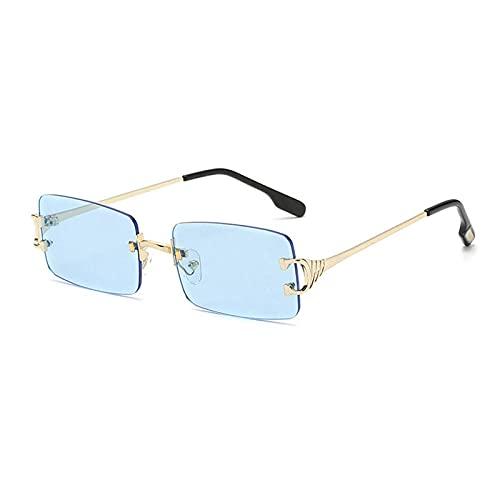 WQZYY&ASDCD Gafas de Sol Gafas De Sol Sin Montura para Mujer, Vintage, para Hombre, para Mujer, para Conducir, Gafas De Sol para Hombre, Azul
