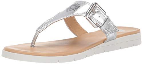HARLEY-DAVIDSON FOOTWEAR Women's Dewitt Flat Sandal, Silver, 10.0 M US