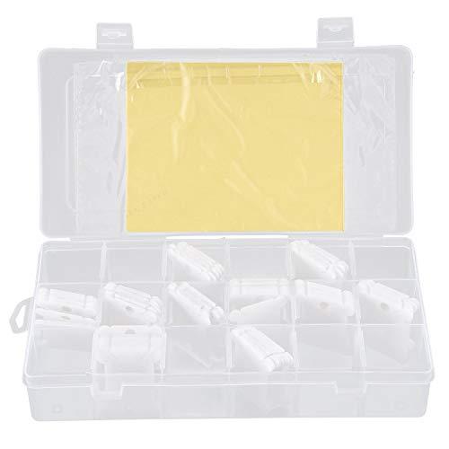 Cherrypop - Caja organizadora para hilo dental de bordar - 17 compartimentos con 100 bobinas de hilo rígido de plástico y pegatinas con número de hilo 480 (juego completo)