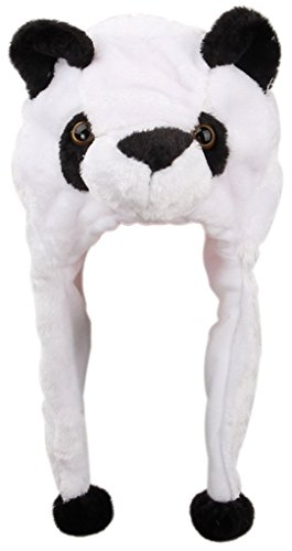 Y-BOA – Bonnet/Chapeau Peluche Cache-Oreilles – Blanc Panda – Adulte/ Enfant – Automne/Hiver- Déguisement