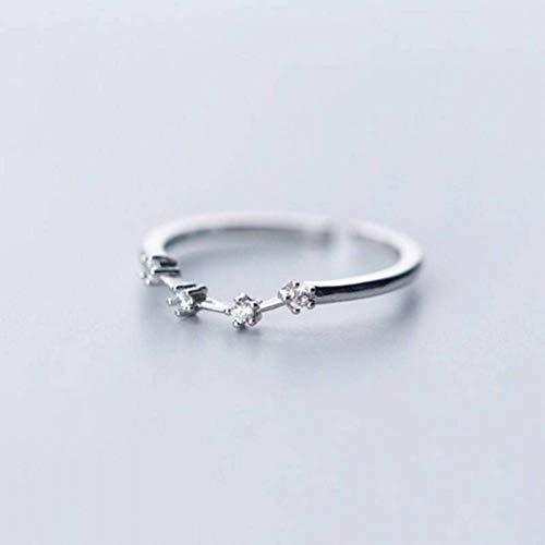 K - Rings S925 Silberring Weiblichen Frischen Minimalistischen Diamant 12 Konstellation Offenen Ring Einzigen Ring, Widder