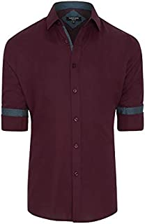 Tarocash Men's Idris Textured Slim Shirt Cotton Slim Fit Long Sleeve Sizes XS-5XL for Going Out Smart Occasionwear