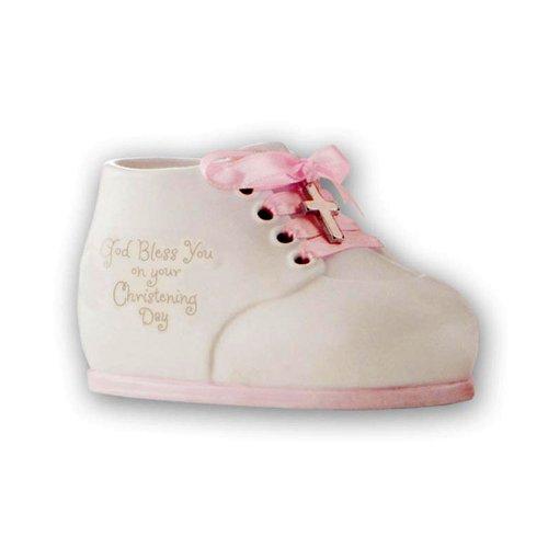 Enesco dieses ist der Tag Taufe Collection, Gott segne Sie, Keramik Baby Schuh Bank, Pink Rose