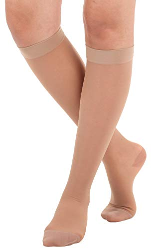 Made In The USA - Absolute Support 2XL Wide Calf Compression Stockings -Sheer Knee High, 15-20 mmHg- Graduated Compression socks for women circulation - Beige, XXL, Sku: A101BE5