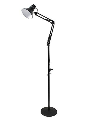 Lampada a piantana da terra con braccio orientabile luce da lettura in metallo per salotto D15 (Nero) A20