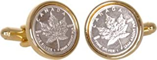 Canadian Maple Leaf Cufflinks Coin Money Canada Silver Bullion Cuff Links