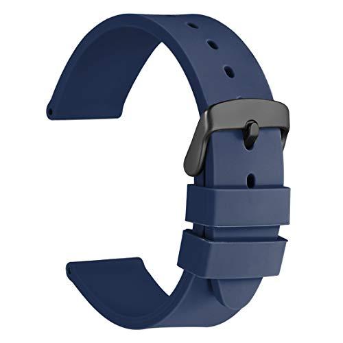 WOCCI 22mm Correa de Reloj de Silicona con Hebilla Negra, Banda de Repuesto de Goma Suave (Azul Oscuro)