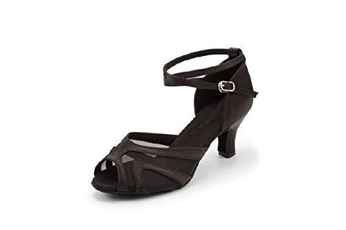 "JZNXdanza Professional Latin Dance Shoes Satin Salsa Dancer Shoes Ballroom Tango Dancing Shoes Z02 for Women with 2.4"" Heel(Black-2.4"" Heel,9.5)"