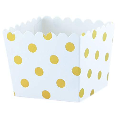 Snackbox Weiß mit goldenen Punkten - 6 kleine Faltschachteln, Boxen aus Pappe für Süßigkeiten oder Geschenke von Sambellina