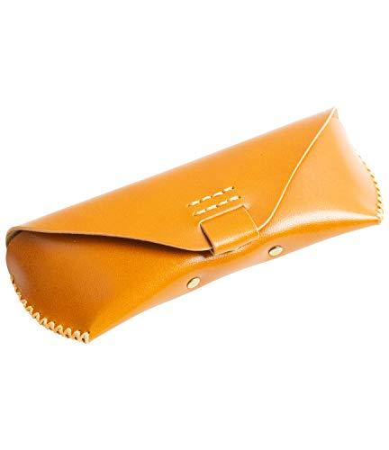 MIRACOLO メガネケース 本革 コンパクト 革 イタリアンレザー マグネットボタン 眼鏡 メガネ サングラス ケース ステッチ 手縫い ハンドメイド仕上げ おしゃれ スリム ブラウン