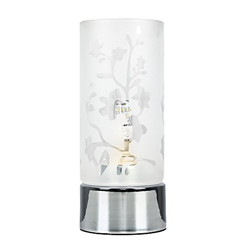 Pair of - Floral Design Glass/Polished Chrome Touch Table Lamps