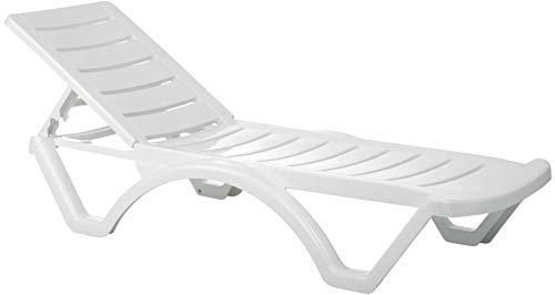 CLP 10er Set Sonnenliege Aqua I 10x Kunststoffliege Mit Rädern I Rückenlehne 5-Fach Verstellbar I 10er Pack Stapelbare Liege Wetterfest, Farbe:weiß