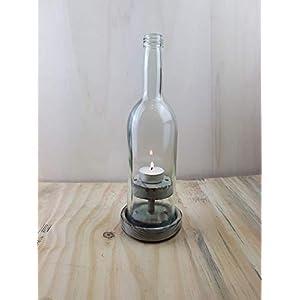 """Weinflaschen – Windlicht,Nr 2 Rustikal"""" grau"""