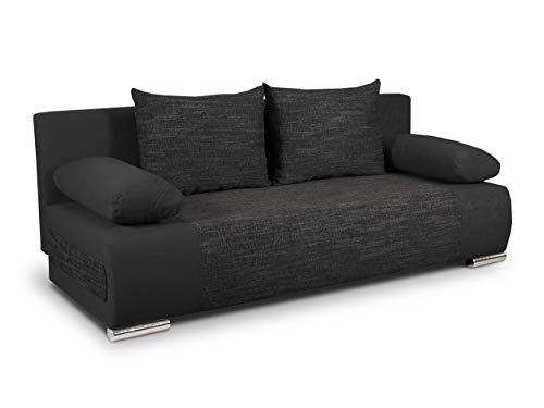 Schlafsofa Naki - Sofa mit Schlaffunktion und Bettkasten, Bettsofa, Couchgarnitur, Couch, Sofagarnitur, Bett (Schwarz + Schwarz (Alova 04 + Berlin 02))
