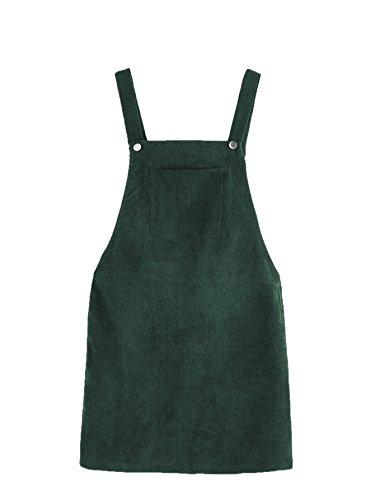 Romwe Women's Straps A-line Corduroy Pinafore Bib Pocket Overall Dress Green L