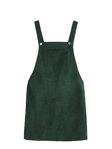 Romwe Women's Straps A-line Corduroy Pinafore Bib Pocket Overall Dress Green M