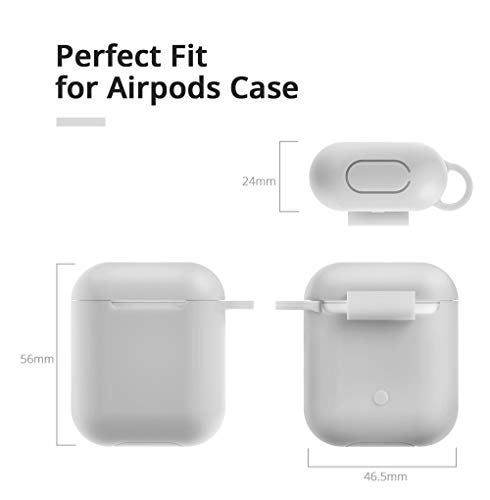 Airpods Case - BlUEWIND Drop Proof Air Pods Protective Pom Pom Keychain Case Cover Silicone Skin for Apple Airpods 2 & 1 Charging Case, Cute Fur Ball Airpods Keychain/Strap (Gray)