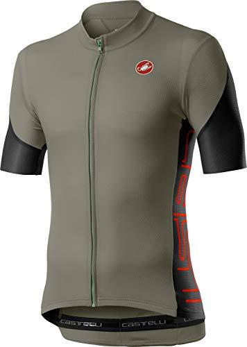 CASTELLI ENTRATA V Jersey Camiseta, Bark Green/Light Black/Fiery Red, M para Hombre