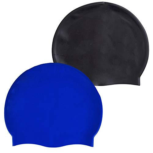 Petiy Beauty Durable Silicone Waterproof Unisex Swimming Caps Swim Cap Bathing Cap Keep Hair Dry for Women Men Adults Youths (Black+Blue)