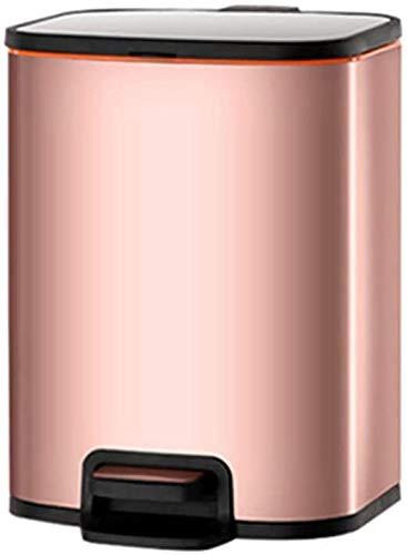 ZCRR Papelera rectangular de acero inoxidable con tapa y cesta de basura interior extraíble para cocina doméstica (tamaño: 10 L, color: oro rosa)