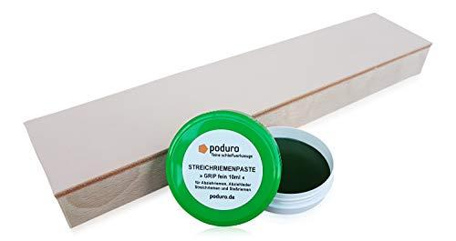 Asentador y pastas Saller poduro combinado Juego de piel de afilar en madera y óxido de cromo–Pasta de abrillantado para cuchillo desconectarlo