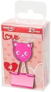 Binder Clips Love Gato Molin 25mm 4 unidades