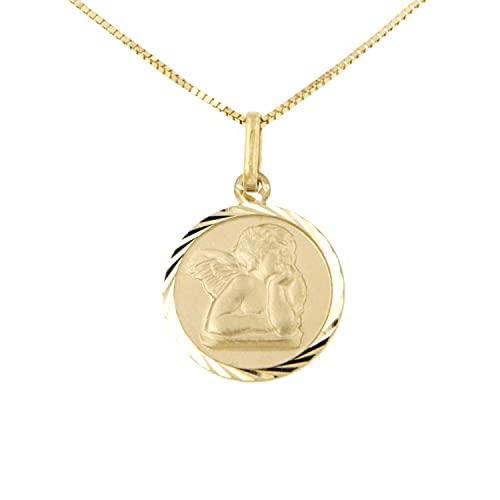 Lucchetta – Colgante con ángel sobre medalla diamantada de oro amarillo de 14 quilates, cadena larga de 45 cm, collar de oro para mujer – Fabricado en Italia – XD1043-VE38