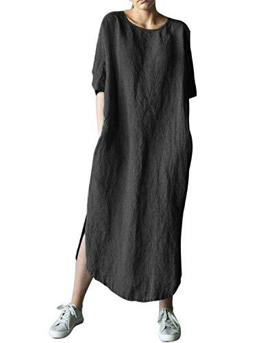 AUDATE Women's Linen Maxi Bubble Dress 3/4 Sleeve Baggy Loose Kaftan Dress Black 3XL