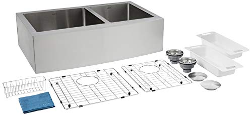 ZUHNE Turin Farmhouse Apron 33 Inch Front 60/40 Deep 16 Gauge Stainless-Steel Double Bowl Kitchen Sink Grate Protector, 2 Drain Strainers, Sink Caddy
