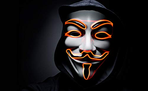 Ultra Anaranjado El Cable Mascara Guy Fawkes Mascara Hacker Halloween Mask Disfraz LED V de Vendetta Mascara Niños Adultos Cara Mascara LED Anonymous Mascara V de Venganza Cosplay Neon LED Careta
