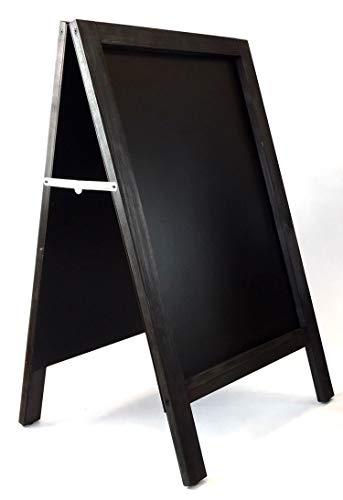 Pizarra caballete negra. Pizarra negra 90 x 50 cm doble cara apta para tizas normales y rotuladores de tiza. Ideal para hostelería, infantil, restaurante, habitación niños, etc. (MARCO NEGRO)