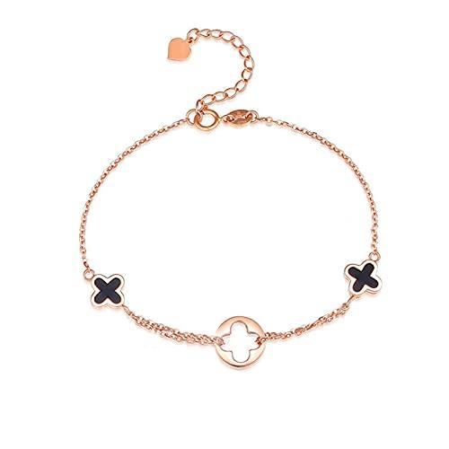 Pulsera Trébol De Cuatro Hojas Jewelry - Pulsera Fabricada En Oro Rosa De 18 Quilates con Longitud Ajustable De La Cadena De 16m
